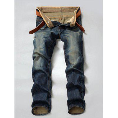 Pocket Rivet Zipper Fly Scratched Straight Leg Jeans