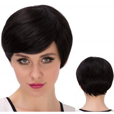Ultrashort Inclined Bang Straight Bob Synthetic Wig