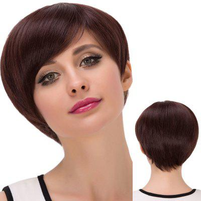 Short Attractive Oblique Bang Straight Synthetic Wig