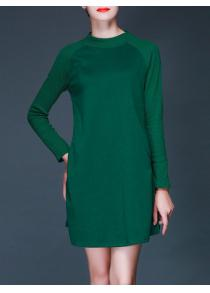 Knitted Pockets Design A-Line Dress