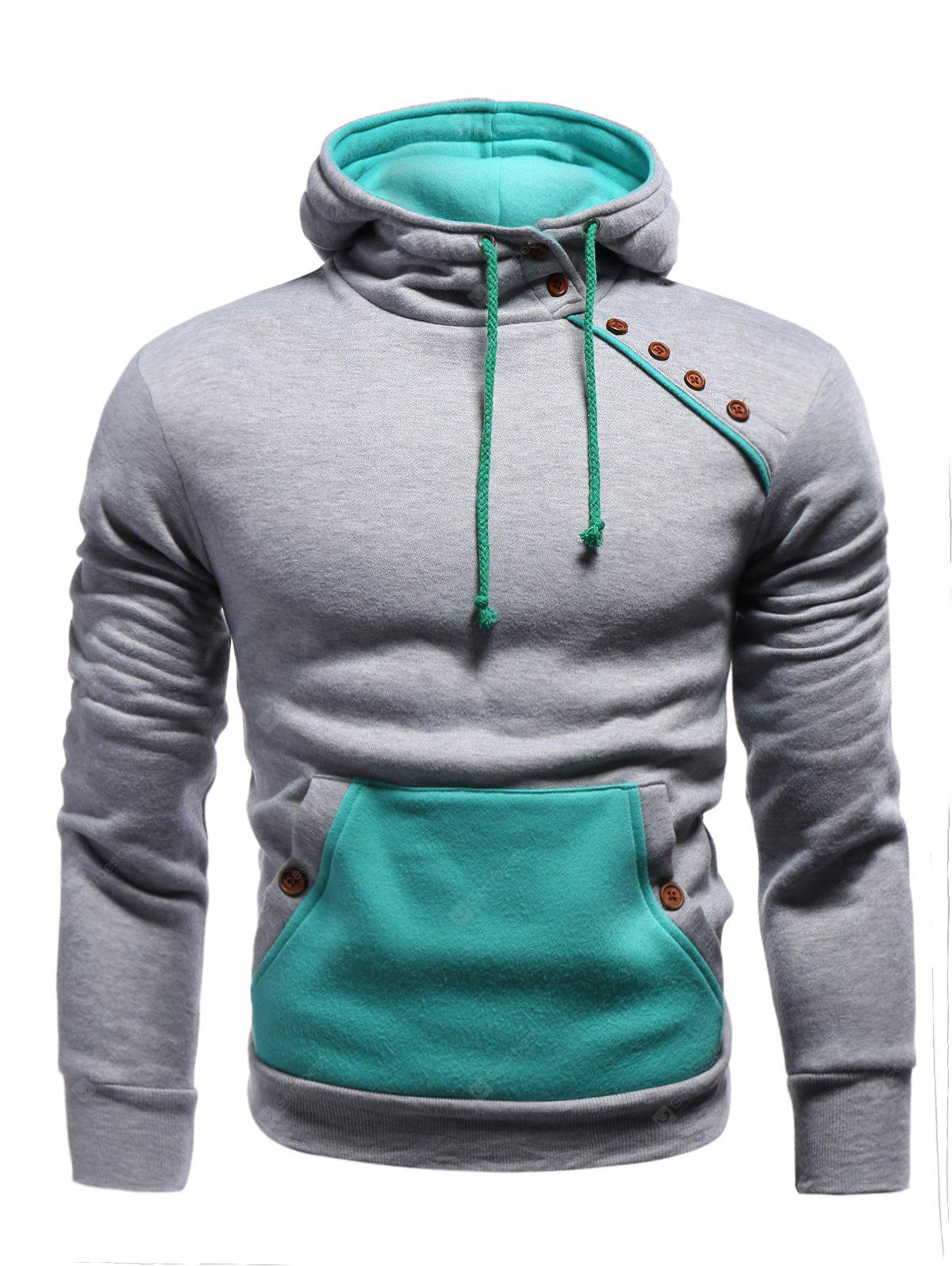 Color Block Splicing Oblique Boutons embellies Hoodie