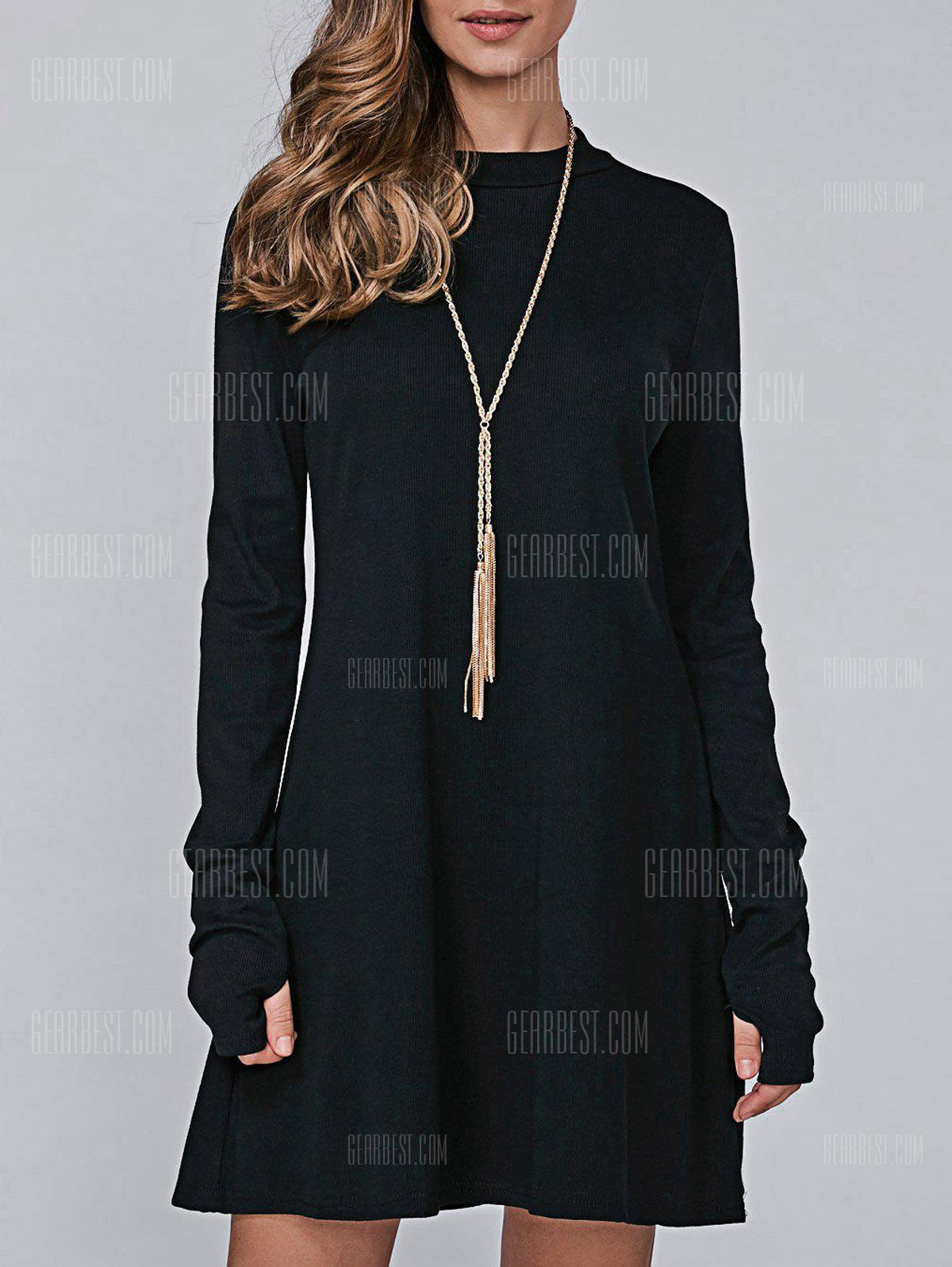 BLACK XL High Neck Long Sleeve Casual Jumper Dress