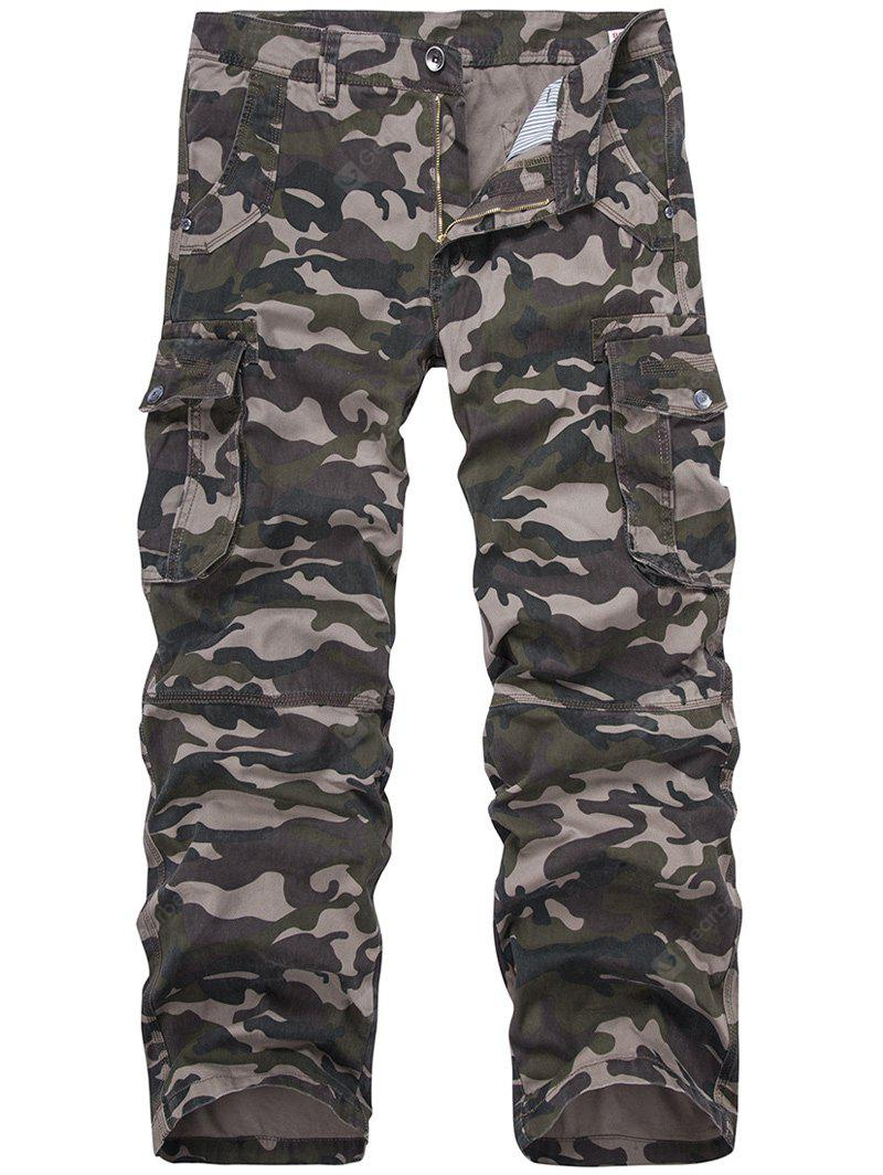 Plus Size Camouflage Straight Leg Multi-Pocket design