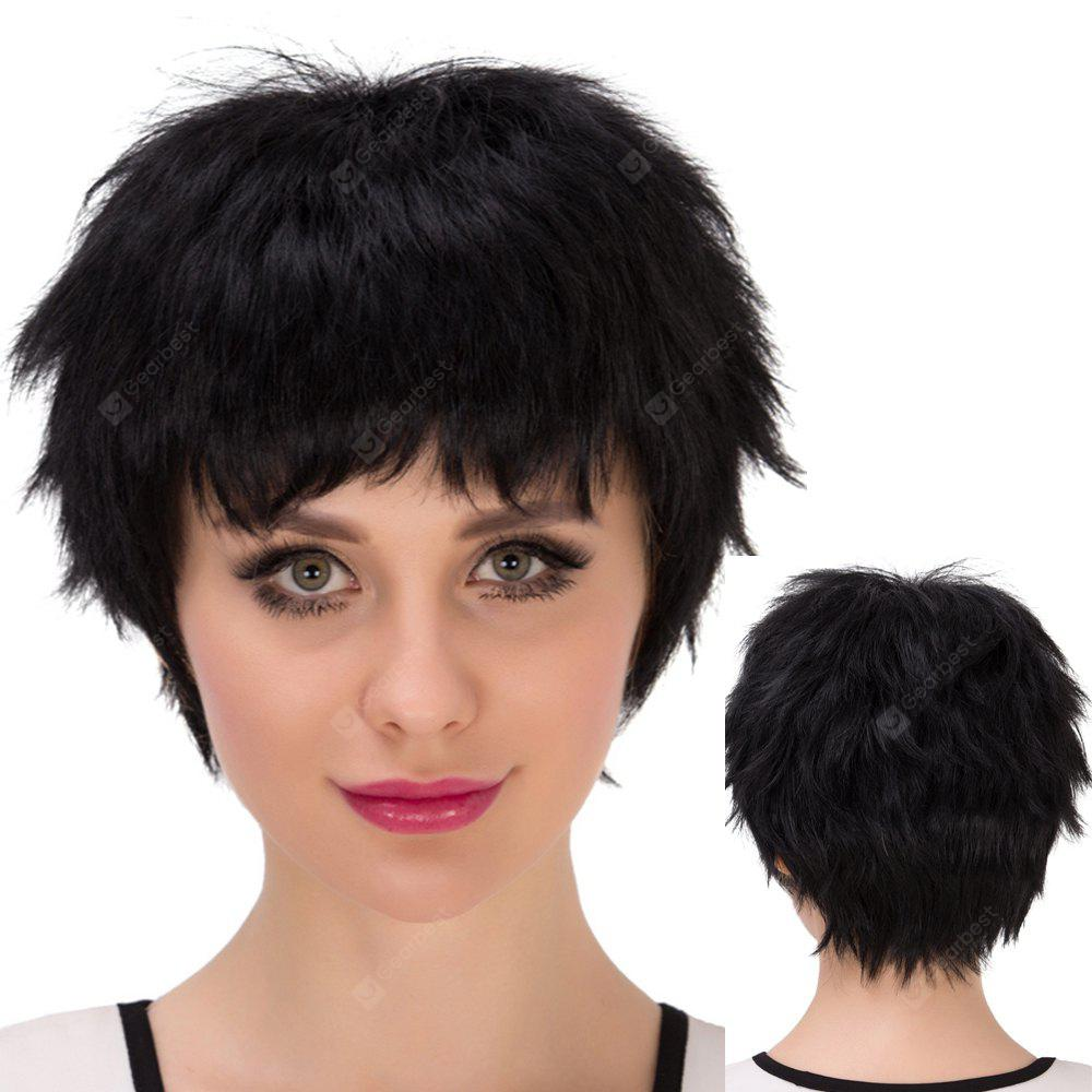 Short Boy Cut Inclined Bang Straight Synthetic Wig