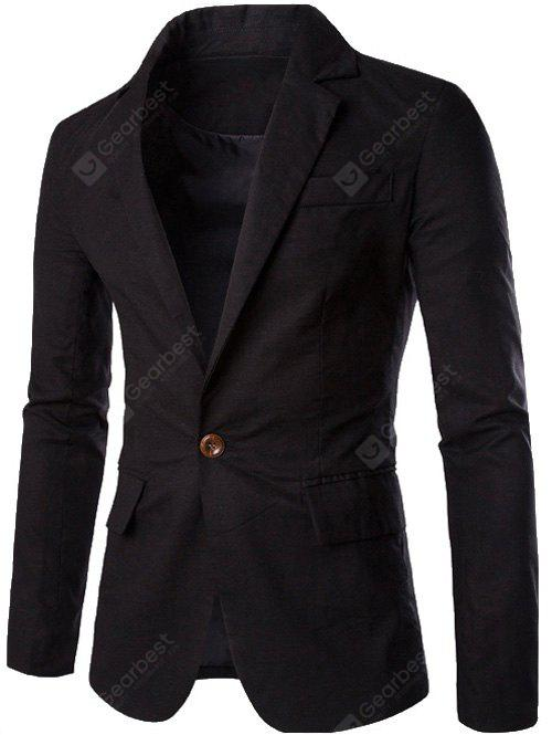 BLACK Stand Collar One Button Design Slimming Cotton+Linen Blazer