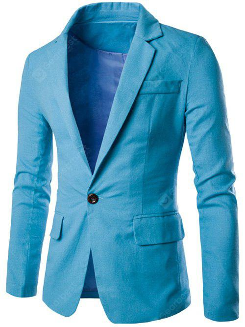 LIGHT BLUE Stand Collar One Button Design Slimming Cotton+Linen Blazer