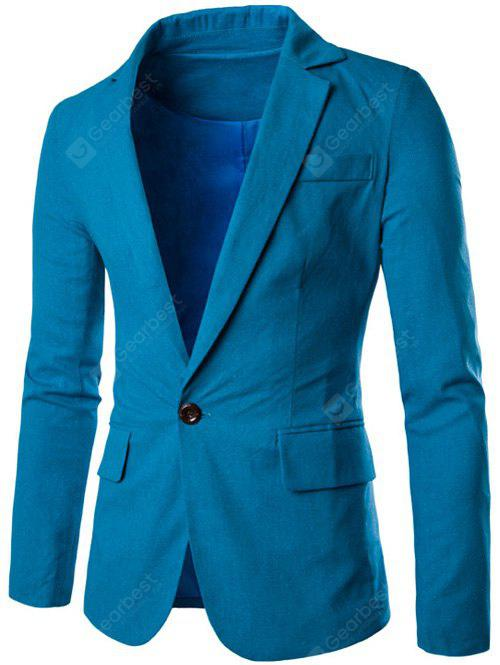 MEDIUM BLUE Stand Collar One Button Design Slimming Cotton+Linen Blazer