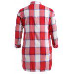 cheap Plus Size Asymmetrical Plaid Shirt