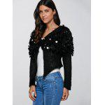 cheap Hollow Out Sequined Short Hand-Knitted Mohair Cardigan