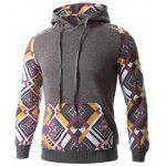 cheap Geometric Print Splicing Raglan Sleeve Hoodie