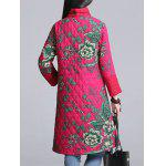 Floral Print Longline Padded Coat - ROSE RED