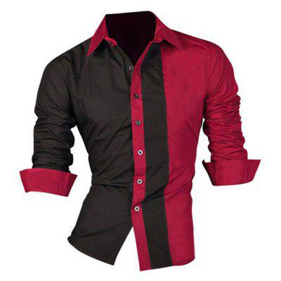 Buy RED XL Color Block Splicing Design Turn-Down Collar Long Sleeve Shirt For Men for $14.29 in GearBest store