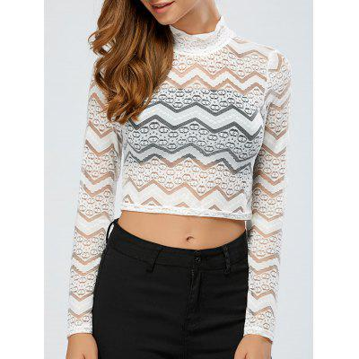 See-Through Lace Zig Zag Crop Top