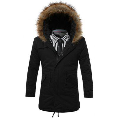 Furry Hood Drawstring Pockets Zip-Up Parka Coat