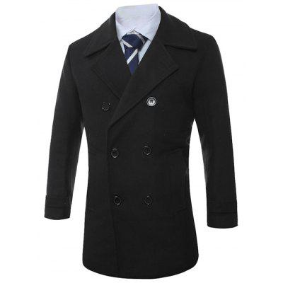 Turn-Down Collar Lengthen Double-Breasted Wool CoatMens Jackets &amp; Coats<br>Turn-Down Collar Lengthen Double-Breasted Wool Coat<br><br>Clothes Type: Wool &amp; Blends<br>Collar: Turn-down Collar<br>Material: Cotton, Polyester, Wool<br>Package Contents: 1 x Coat<br>Season: Winter<br>Shirt Length: Long<br>Sleeve Length: Long Sleeves<br>Style: Fashion<br>Weight: 0.9375kg