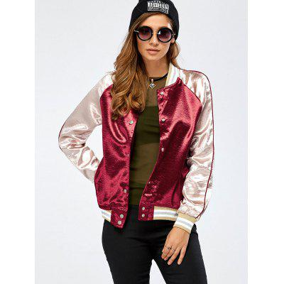 Buy WINE RED Autumn Lurex Color Block Baseball Jacket for $22.25 in GearBest store