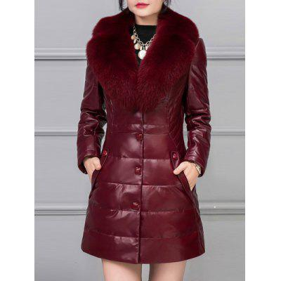 Leather Detached Fur Padded Coat