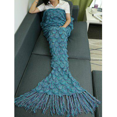 Fish Scale Knitting Tassel Sofa Blanket