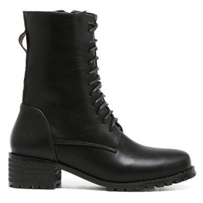 Tie Up Zipper PU Leather Short Boots