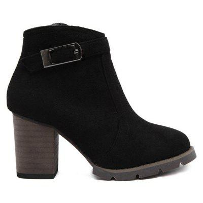 Buckle Dark Color Zipper Ankle Boots