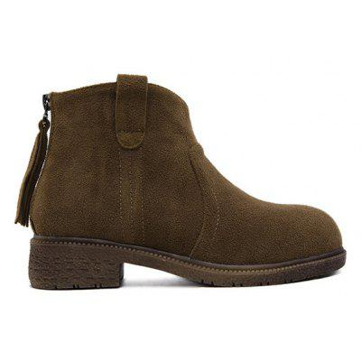 Suede Zipper Dark Color Ankle Boots