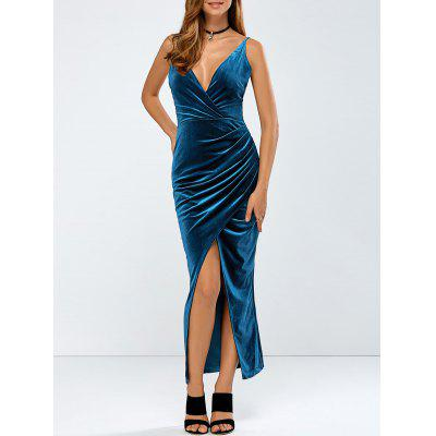 Ruched Velvet Braless Dress