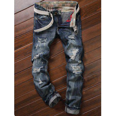 Buy DEEP BLUE Straight Leg Ripped Destroyed Jeans for $17.37 in GearBest store