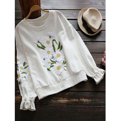 Crew Neck Floral Applique Sweatshirt