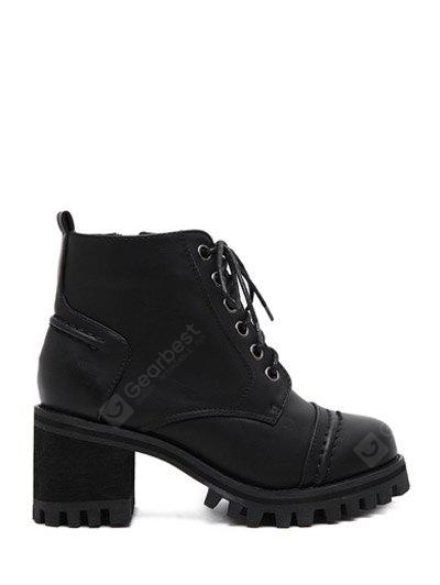 Lace-Up Chunky Heel Platform Ankle Boots 37 BLACK