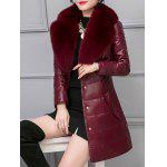 Fur Collar Fake Leather Padded Coat deal