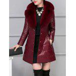 cheap Fur Collar Fake Leather Padded Coat