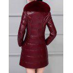 Fur Collar Fake Leather Padded Coat photo