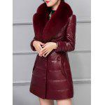 Fur Collar Fake Leather Padded Coat for sale