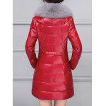 PU Leather Detached Fur Quilted Coat for sale