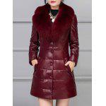 PU Leather Detached Fur Quilted Coat