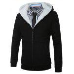 Hooded Fleece Zip-Up Hoodie - PRETO