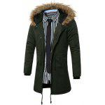 Buy Furry Hood Drawstring Pockets Zip-Up Parka Coat L ARMY GREEN