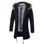 Buy Furry Hood Drawstring Pockets Zip-Up Parka Coat L CADETBLUE