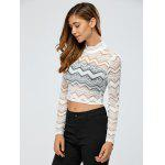cheap See-Through Zig Zag Lace Crop Top