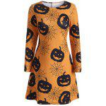 Robe trapèze à motif citrouille Halloween - ORANGE JAUNE