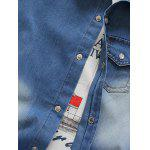 Breast Pocket Snap Button Up Denim Shirt - DEEP BLUE