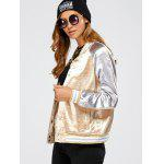 Autumn Color Block Baseball Jacket - GOLDEN