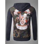 Zip-Up Skeleton Print Camouflage Hoodie deal