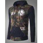 cheap Zip-Up Skeleton Print Camouflage Hoodie