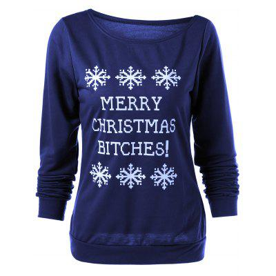 Buy DEEP BLUE Merry Christmas Bitches Graphic Sweatshirt for $5.21 in GearBest store