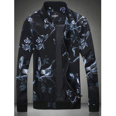 Plus Size Florals and Birds Print Zip-Up Jacket