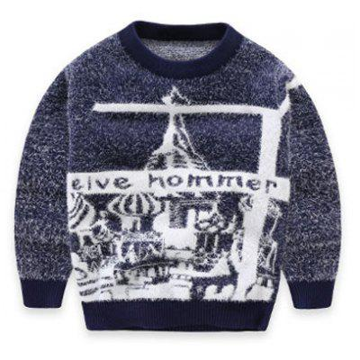 Boys Crew Neck Pattern Jacquard Pullover Knit Sweater