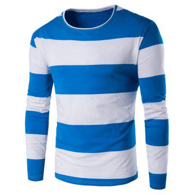 Buy BLUE L Long Sleeve Stripe T-Shirt for $7.59 in GearBest store