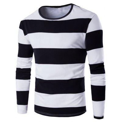 Buy BLACK Long Sleeve Stripe T-Shirt for $7.46 in GearBest store