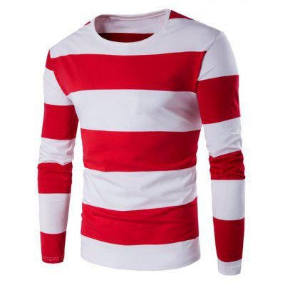 Buy RED L Long Sleeve Stripe T-Shirt for $6.64 in GearBest store